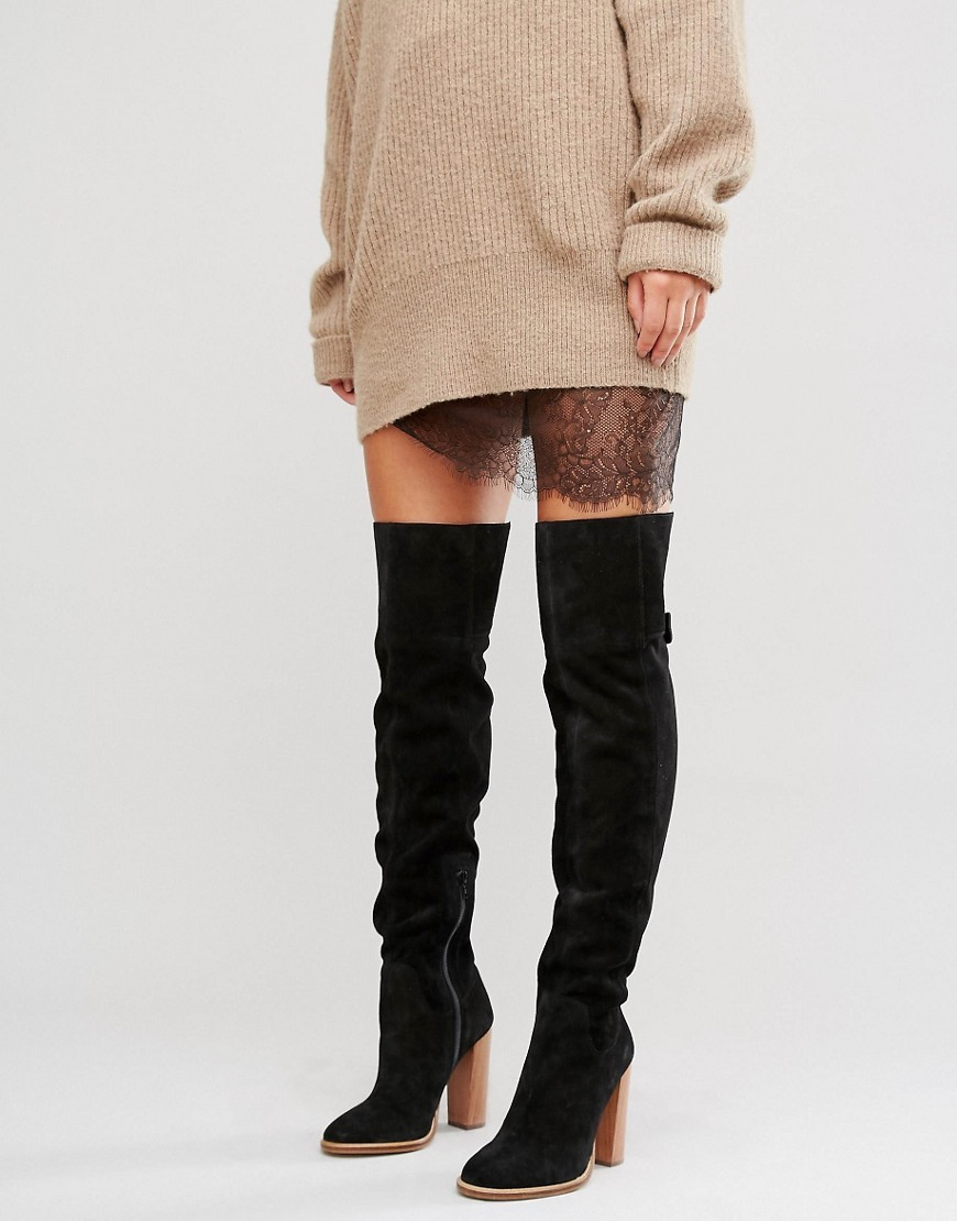 Keira Suede Over The Knee Boots Black Suede - predominant colour: black; occasions: casual; material: suede; heel height: high; heel: block; toe: round toe; boot length: thigh high; style: standard; finish: plain; pattern: plain; wardrobe: investment; season: a/w 2016