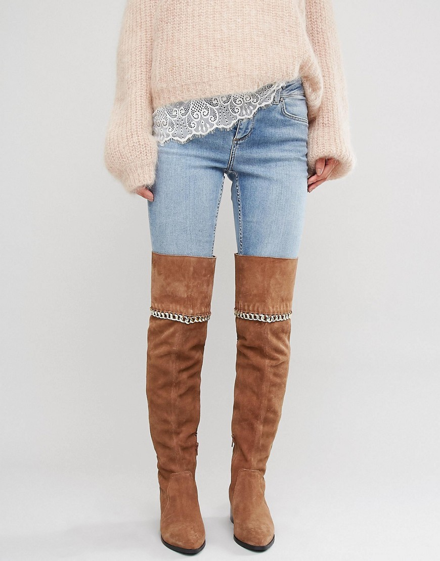 Keeta Suede Chain Over The Knee Boots Chestnut - predominant colour: tan; occasions: casual; material: suede; heel height: high; heel: block; toe: pointed toe; boot length: thigh high; style: standard; finish: plain; pattern: plain; embellishment: chain/metal; season: a/w 2016; wardrobe: highlight
