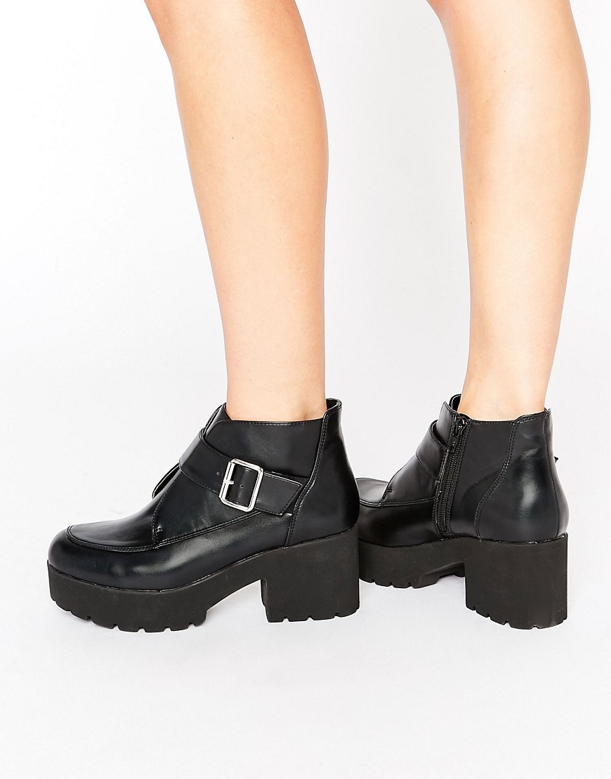 Raina Chunky Monk Ankle Boots Black - predominant colour: black; occasions: casual; material: faux leather; heel height: mid; embellishment: buckles; heel: block; toe: round toe; boot length: ankle boot; style: standard; finish: plain; pattern: plain; wardrobe: basic; season: a/w 2016