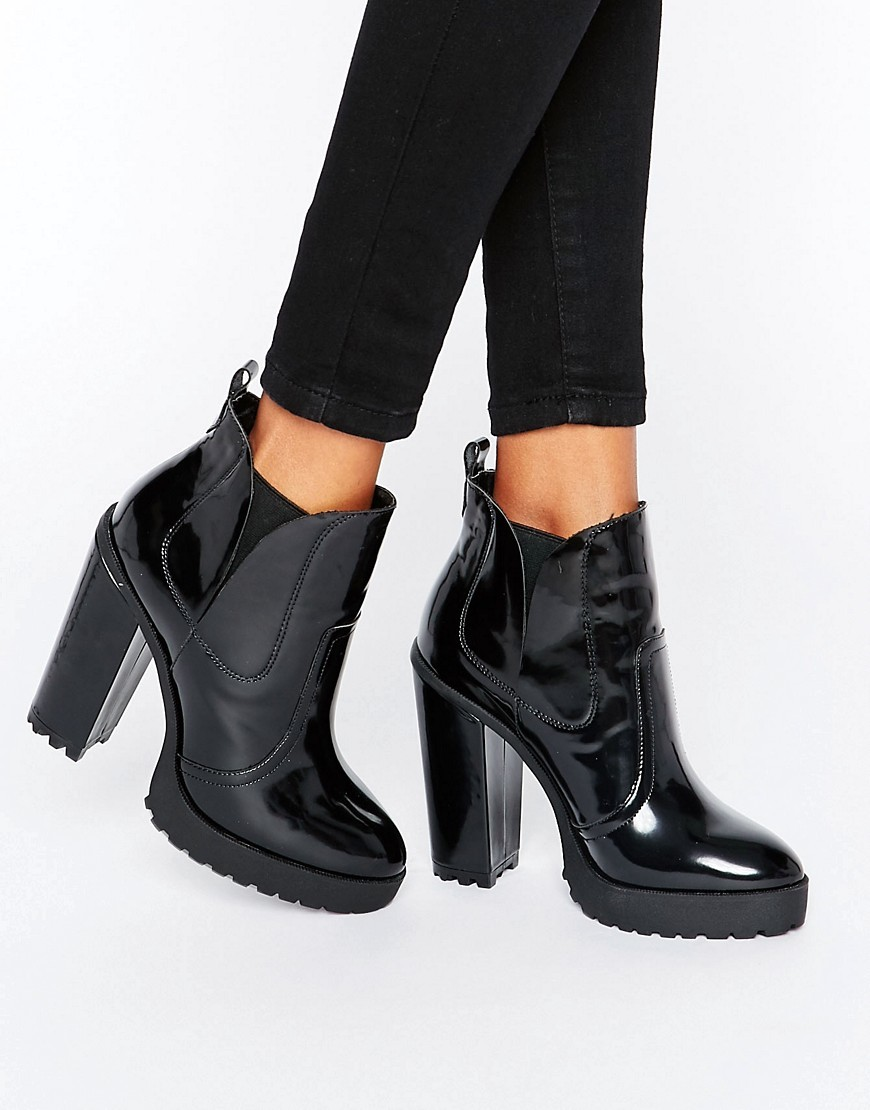 Elbus High Chelsea Ankle Boots Black - predominant colour: black; occasions: casual; material: faux leather; heel height: high; heel: block; toe: round toe; boot length: ankle boot; style: standard; finish: patent; pattern: plain; shoe detail: platform with tread; season: a/w 2016; wardrobe: highlight