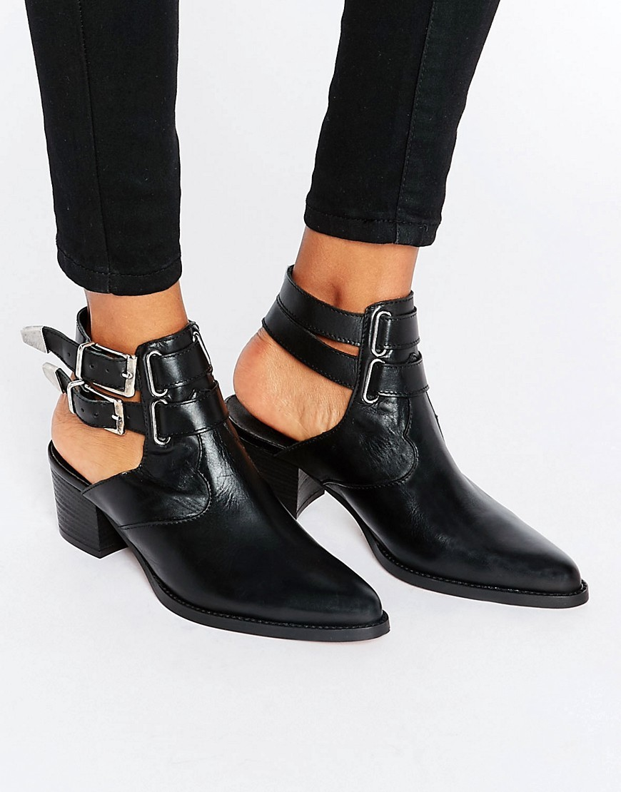 Rambler Leather Western Boots Black - predominant colour: black; occasions: casual, creative work; material: leather; heel height: mid; embellishment: buckles; heel: block; toe: pointed toe; boot length: ankle boot; finish: plain; pattern: plain; style: cut outs; wardrobe: basic; season: a/w 2016