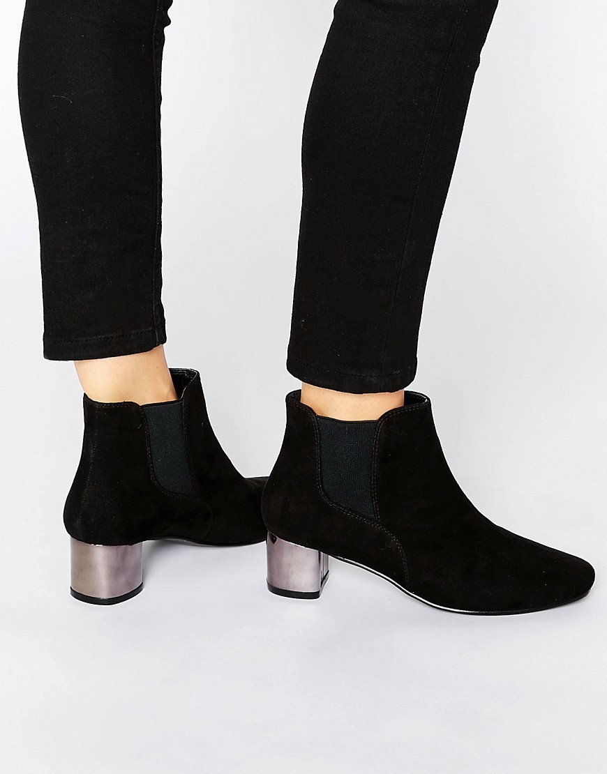 Ranera Chelsea Ankle Boots Black - predominant colour: black; occasions: casual; material: fabric; heel height: mid; heel: block; toe: round toe; boot length: ankle boot; style: standard; finish: plain; pattern: plain; season: a/w 2016; wardrobe: highlight
