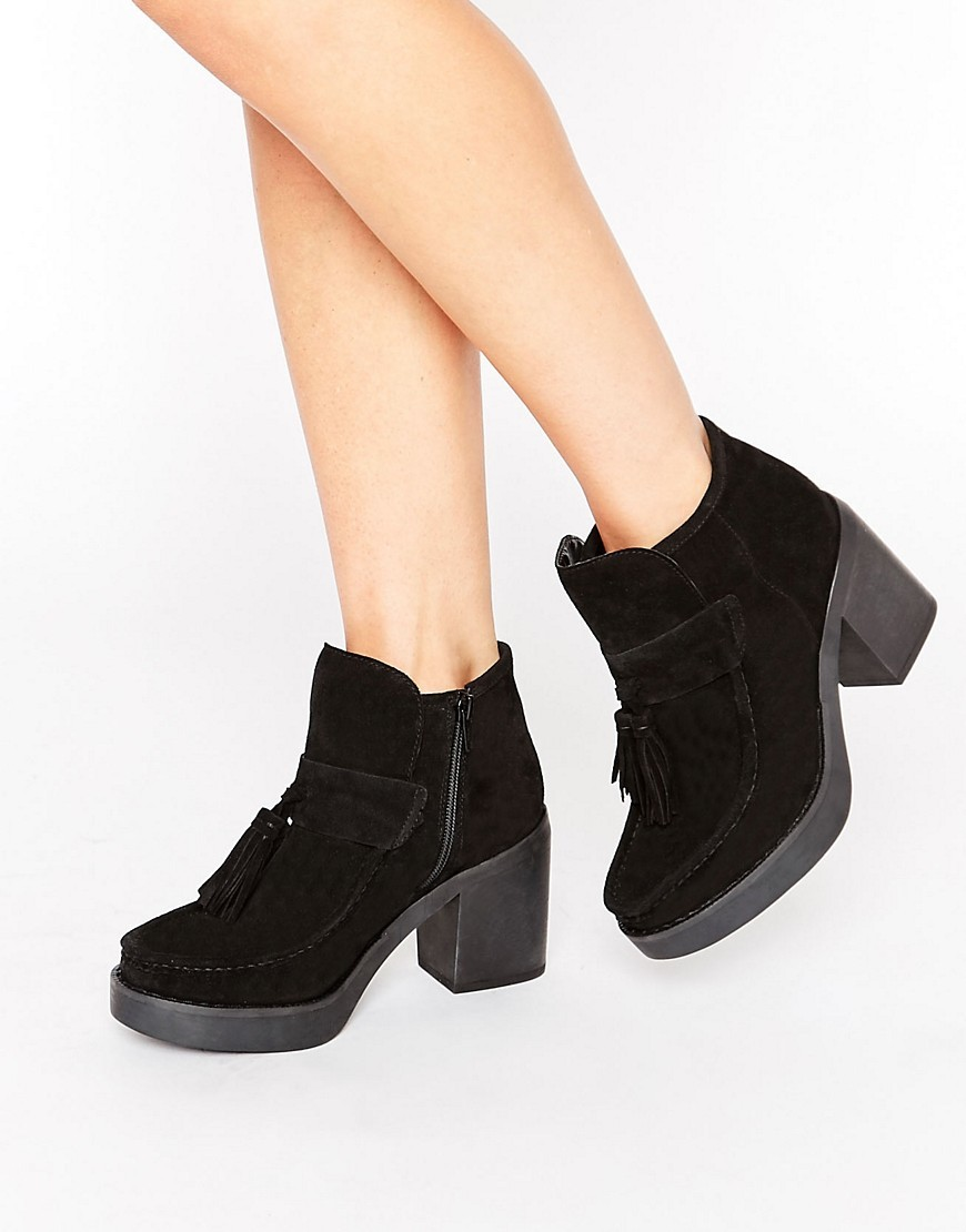 Rex Suede Tassel Ankle Boots Black Suede - predominant colour: black; occasions: casual; material: suede; heel height: high; embellishment: tassels; heel: block; toe: round toe; boot length: ankle boot; style: standard; finish: plain; pattern: plain; shoe detail: platform; season: a/w 2016; wardrobe: highlight