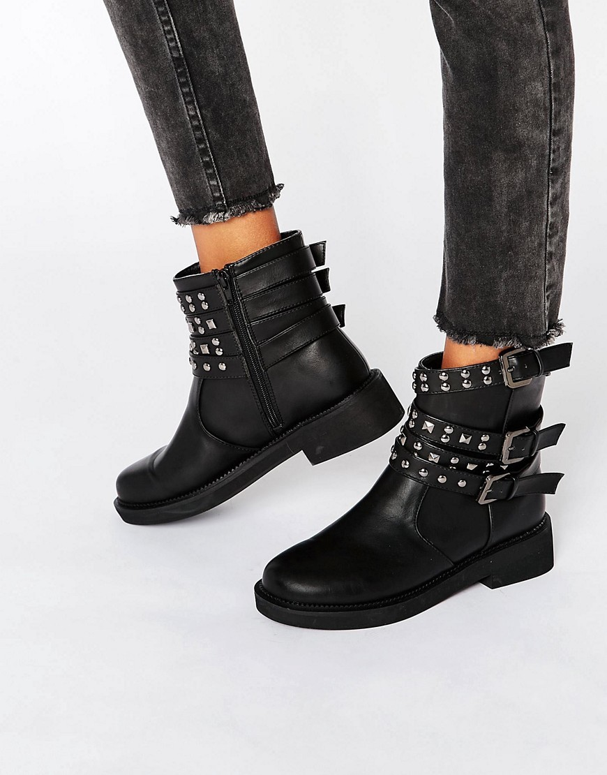 Aereo Studded Biker Boots Black - predominant colour: black; occasions: casual; material: faux leather; heel height: flat; embellishment: studs; heel: block; toe: round toe; boot length: ankle boot; style: standard; finish: plain; pattern: plain; season: a/w 2016; wardrobe: highlight