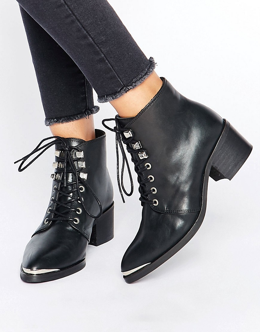 Derta Lace Up Mid Heeled Ankle Boots Black Leather - predominant colour: black; occasions: casual; material: leather; heel height: mid; heel: block; toe: round toe; boot length: ankle boot; style: standard; finish: plain; pattern: plain; wardrobe: basic; season: a/w 2016