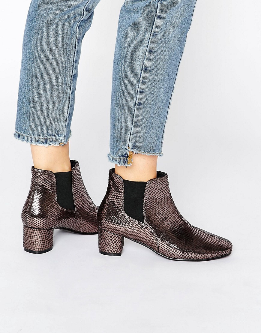 Ranera Chelsea Ankle Boots Black/Silver - secondary colour: silver; predominant colour: black; occasions: casual; material: faux leather; heel height: mid; embellishment: elasticated; heel: block; toe: round toe; boot length: ankle boot; style: standard; finish: metallic; pattern: animal print; season: a/w 2016