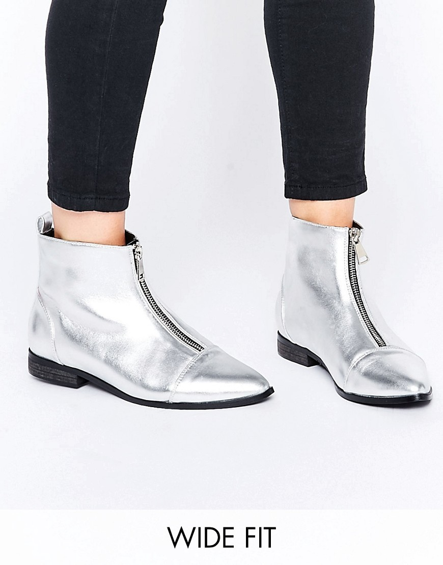 Albie Wide Fit Pointed Ankle Boots Silver - predominant colour: silver; occasions: casual; material: faux leather; heel height: flat; embellishment: zips; heel: standard; toe: pointed toe; boot length: ankle boot; style: standard; finish: metallic; pattern: plain; season: a/w 2016; wardrobe: highlight