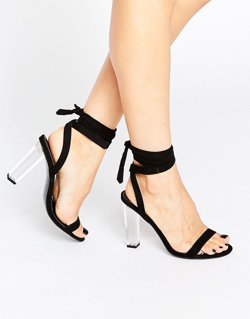 Hope Clear Heeled Sandals Black - predominant colour: black; occasions: evening; heel height: high; ankle detail: ankle tie; heel: block; toe: open toe/peeptoe; style: strappy; finish: plain; pattern: plain; material: faux suede; season: a/w 2016; wardrobe: event