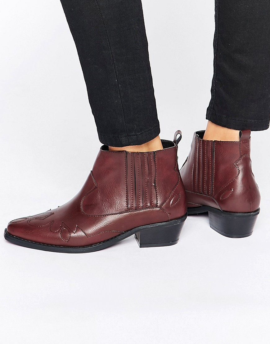 Western Ankle Boots Burgundy - predominant colour: burgundy; occasions: casual, creative work; material: faux leather; heel height: mid; heel: block; toe: round toe; boot length: ankle boot; style: cowboy; finish: plain; pattern: plain; season: a/w 2016; wardrobe: highlight