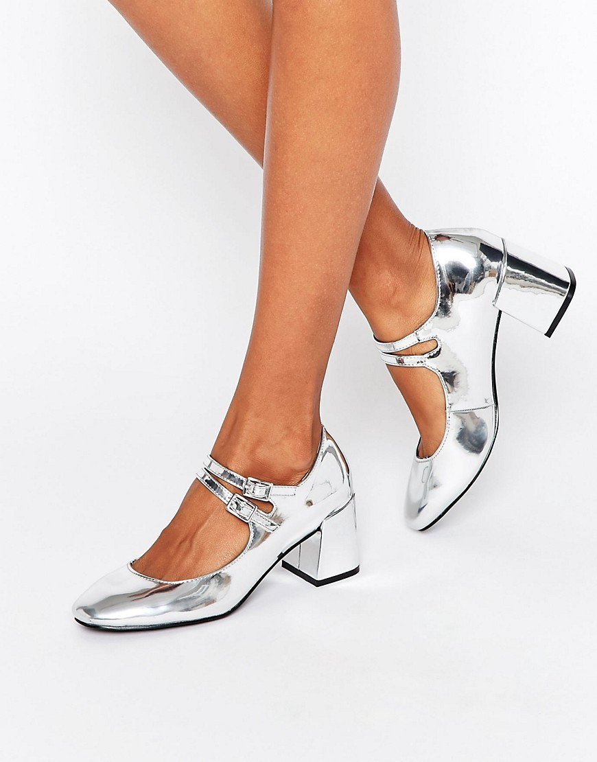 Mary Jane Silver Flare Heeled Shoes Silver Metallic - predominant colour: silver; occasions: evening; material: faux leather; heel height: mid; heel: block; toe: round toe; style: mary janes; finish: metallic; pattern: plain; season: a/w 2016; wardrobe: event