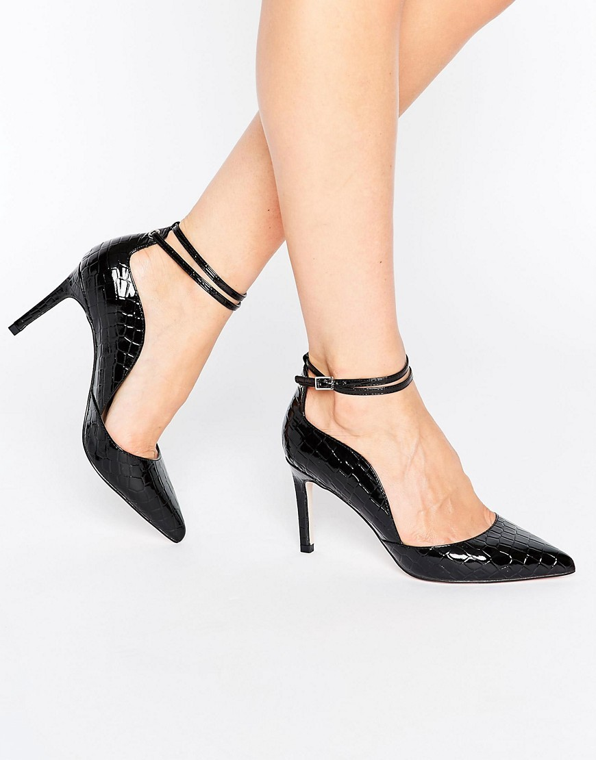 Shoreline Pointed Heels Black - predominant colour: black; occasions: evening; material: faux leather; heel height: high; ankle detail: ankle strap; heel: stiletto; toe: pointed toe; style: courts; finish: patent; pattern: plain; season: a/w 2016; wardrobe: event