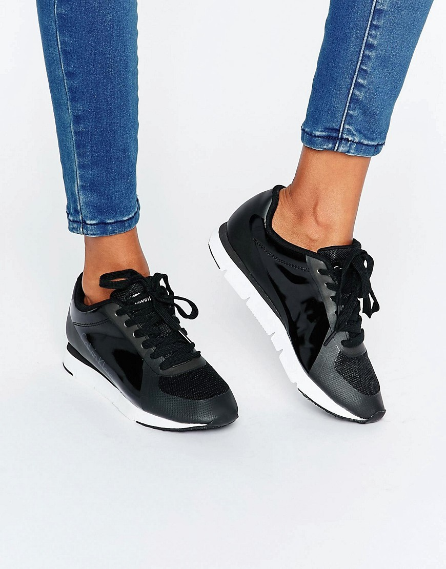 Jeans Tilly Black Trainers Black Patent/Rubber - predominant colour: black; occasions: casual; material: plastic/rubber; heel height: flat; toe: round toe; style: trainers; finish: plain; pattern: plain; season: a/w 2016; wardrobe: highlight