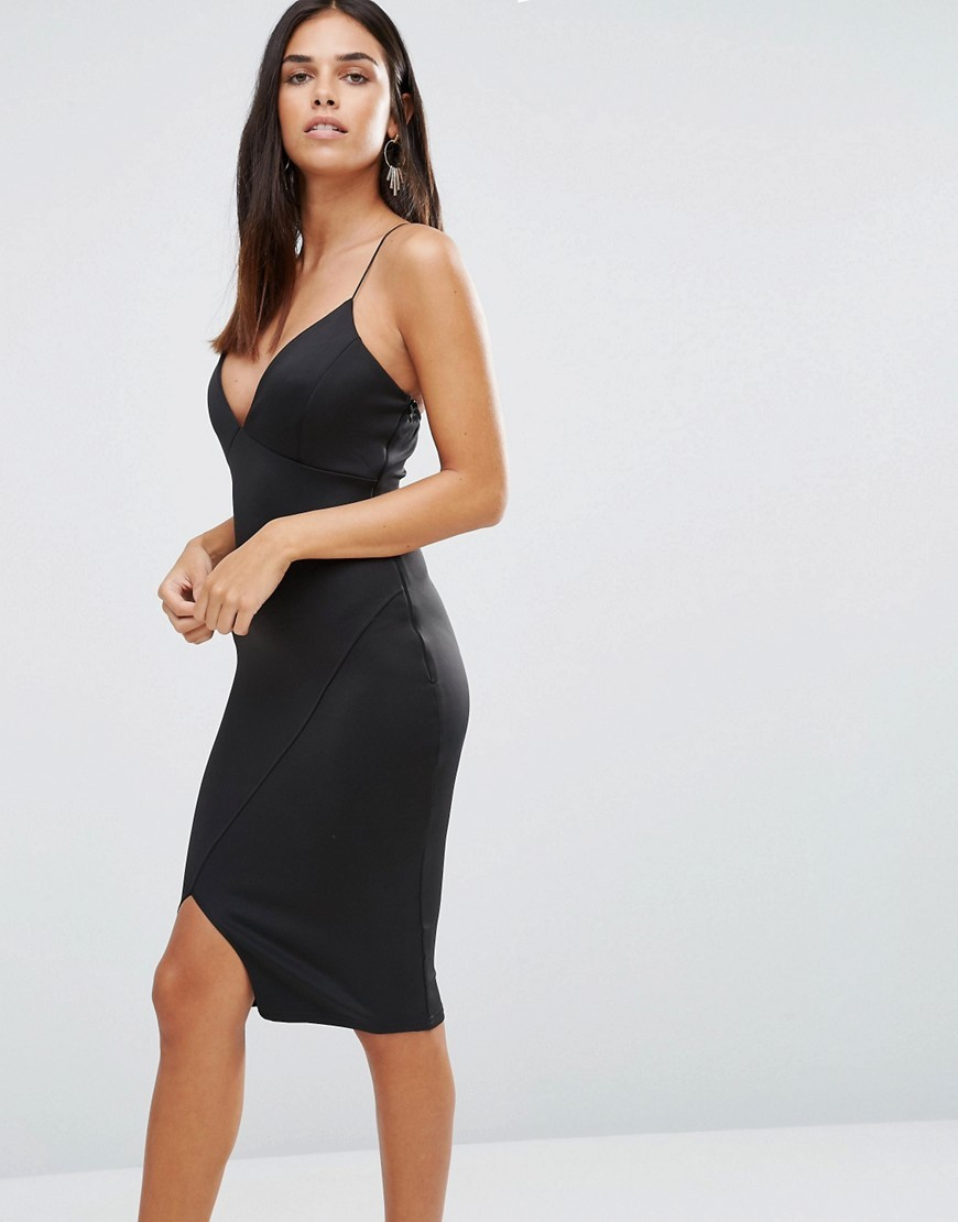 Asymmetric Wrap Bodycon Cami Dress Black - neckline: low v-neck; sleeve style: spaghetti straps; fit: tight; pattern: plain; style: bodycon; predominant colour: black; occasions: evening; length: just above the knee; fibres: polyester/polyamide - stretch; hip detail: slits at hip; sleeve length: sleeveless; texture group: jersey - clingy; pattern type: fabric; season: a/w 2016; wardrobe: event