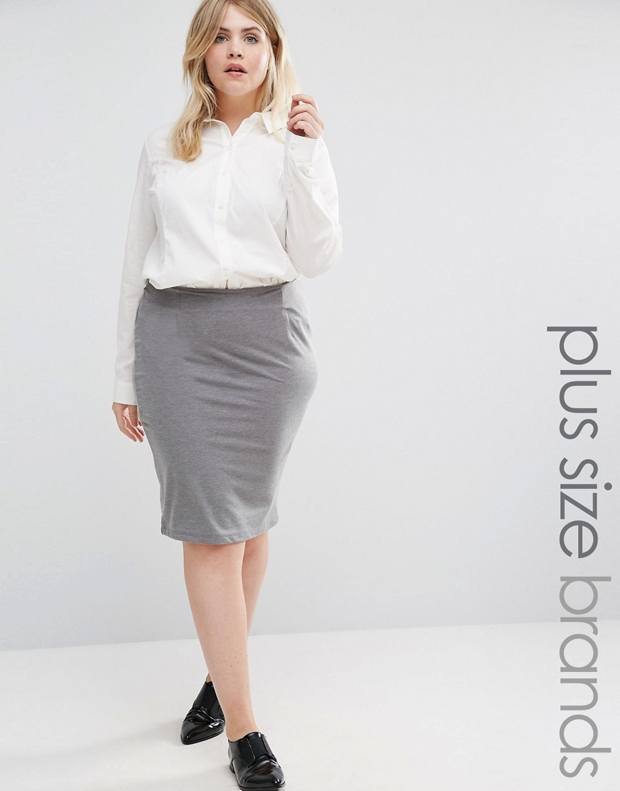 Jersey Pencil Skirt Grey - pattern: plain; style: pencil; fit: body skimming; hip detail: draws attention to hips; waist: mid/regular rise; predominant colour: mid grey; occasions: work; length: on the knee; fibres: cotton - mix; pattern type: fabric; texture group: jersey - stretchy/drapey; wardrobe: basic; season: a/w 2016