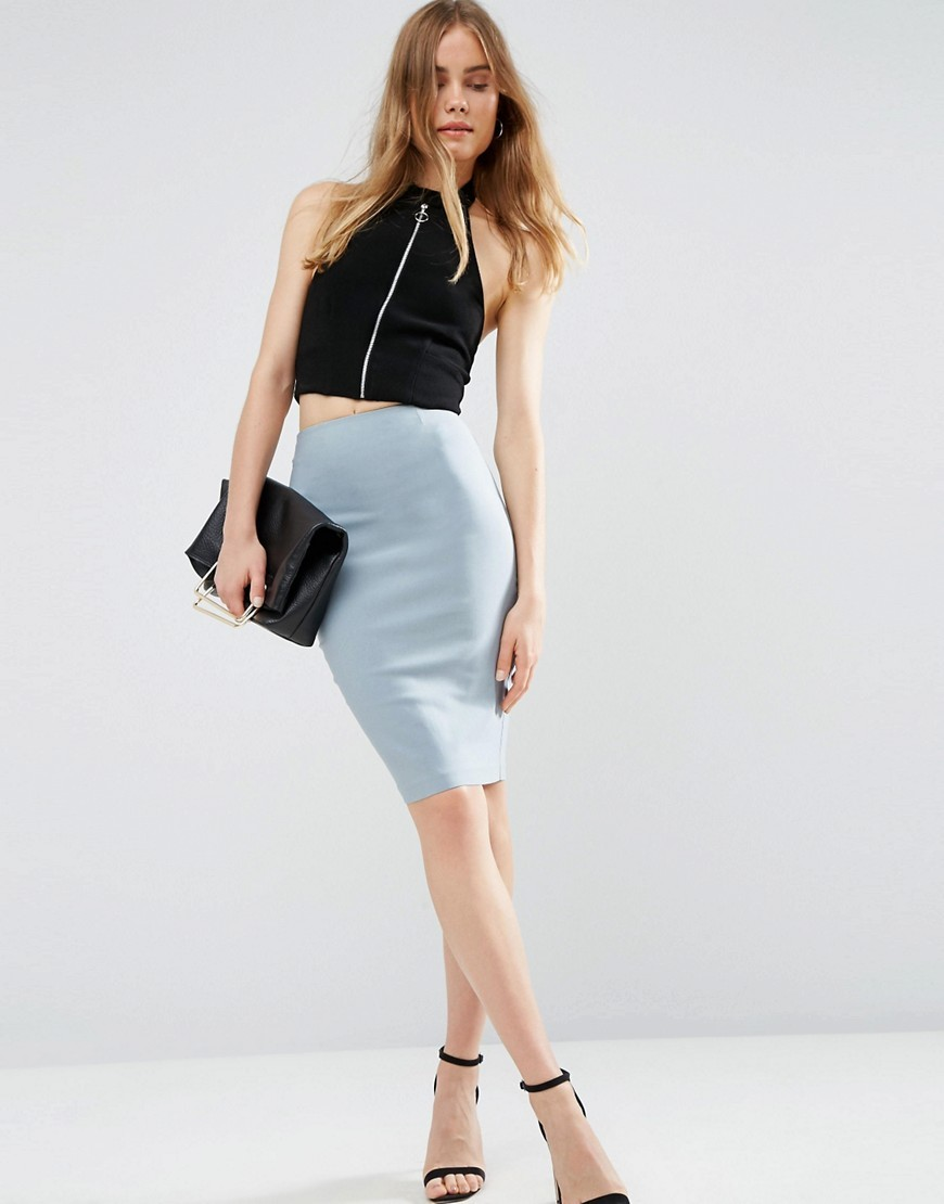 High Waisted Pencil Skirt Slate - pattern: plain; style: pencil; fit: body skimming; waist: high rise; predominant colour: light grey; occasions: work; length: just above the knee; fibres: viscose/rayon - stretch; pattern type: fabric; texture group: jersey - stretchy/drapey; wardrobe: basic; season: a/w 2016