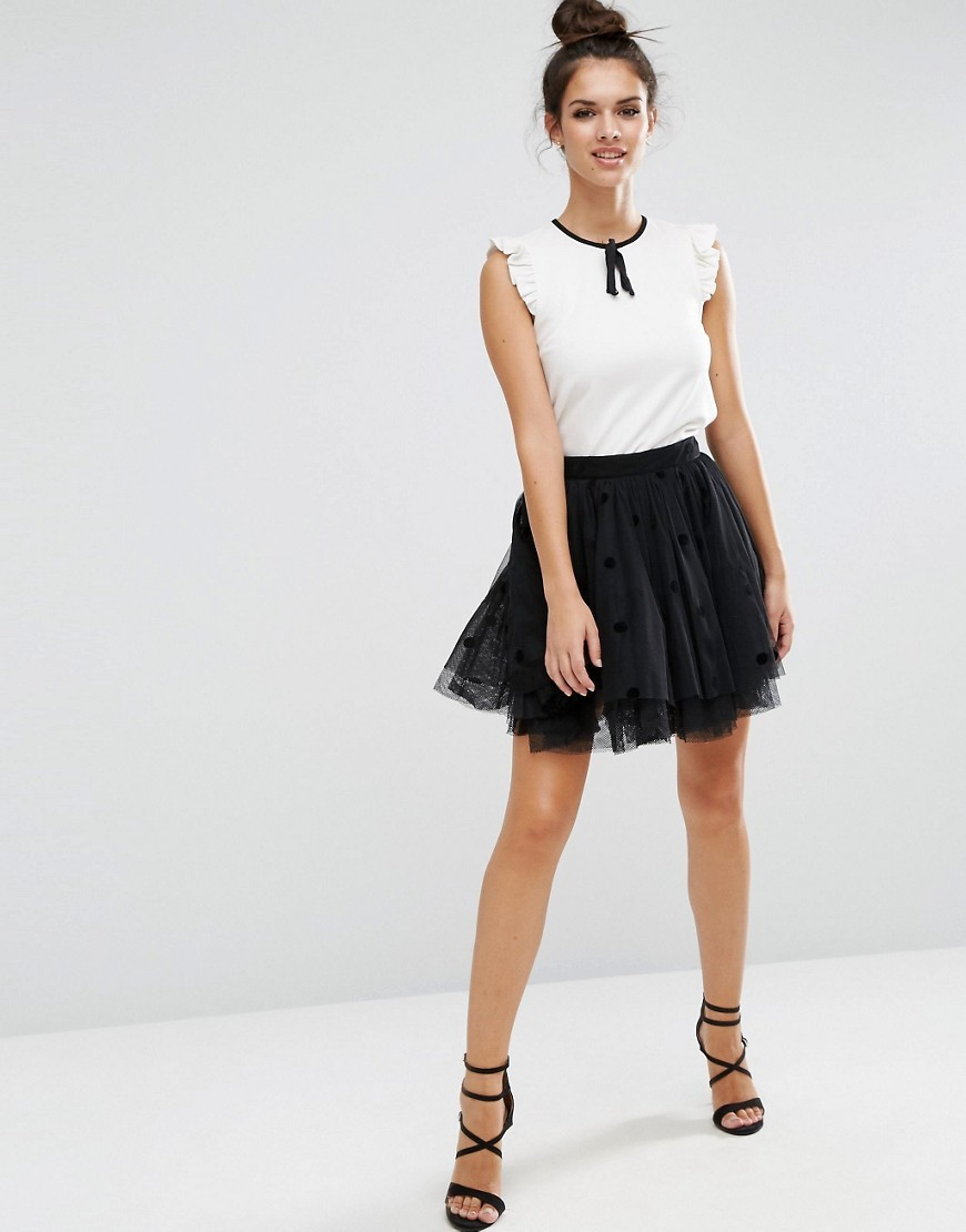 Mini Tulle Prom Skirt In Flocked Polka Dot Black - length: mid thigh; pattern: plain; style: full/prom skirt; fit: loose/voluminous; waist: mid/regular rise; predominant colour: black; occasions: evening; fibres: polyester/polyamide - 100%; pattern type: fabric; texture group: net/tulle; season: a/w 2016; wardrobe: event