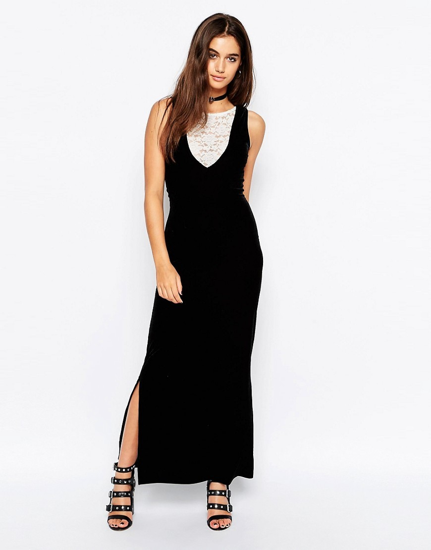 Bella Maxi Dress In Velvet With Lace Insert Black/Cream - neckline: round neck; pattern: plain; sleeve style: sleeveless; style: maxi dress; length: ankle length; hip detail: draws attention to hips; secondary colour: white; predominant colour: black; occasions: evening; fit: body skimming; fibres: polyester/polyamide - stretch; sleeve length: sleeveless; pattern type: fabric; texture group: velvet/fabrics with pile; embellishment: lace; season: a/w 2016; wardrobe: event; embellishment location: bust