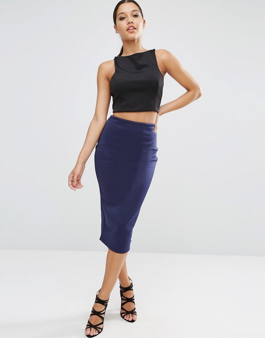 Pencil Skirt In Scuba Navy - length: below the knee; pattern: plain; style: pencil; fit: tight; waist: mid/regular rise; predominant colour: navy; occasions: evening; fibres: polyester/polyamide - stretch; texture group: jersey - clingy; pattern type: fabric; season: a/w 2016