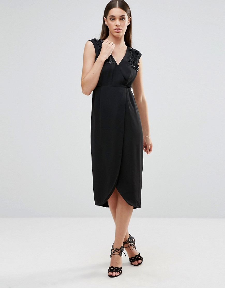 Wrap Midi Dress With Embellished Shoulder Detail Black - style: faux wrap/wrap; length: calf length; neckline: v-neck; pattern: plain; sleeve style: sleeveless; predominant colour: black; occasions: evening; fit: body skimming; fibres: viscose/rayon - 100%; sleeve length: sleeveless; pattern type: fabric; texture group: woven light midweight; embellishment: applique; season: a/w 2016; wardrobe: event; embellishment location: shoulder