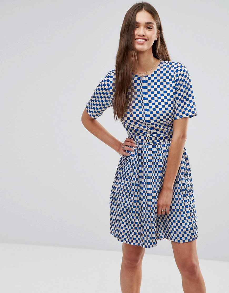 Grid Print Skater Dress Cobalt/Coral - predominant colour: white; secondary colour: royal blue; occasions: casual; length: just above the knee; fit: fitted at waist & bust; style: fit & flare; fibres: polyester/polyamide - 100%; neckline: crew; sleeve length: short sleeve; sleeve style: standard; pattern type: fabric; pattern: patterned/print; texture group: jersey - stretchy/drapey; multicoloured: multicoloured; season: a/w 2016