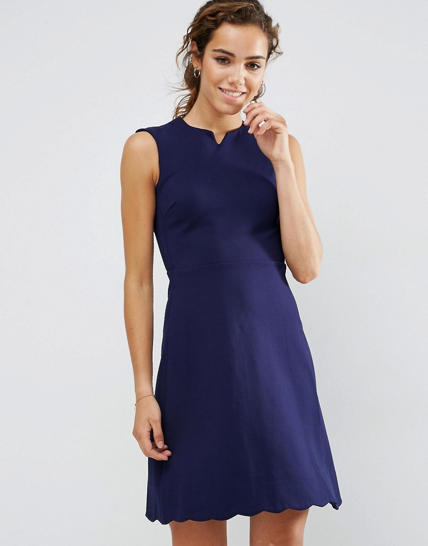 Scuba Skater Dress Navy - neckline: v-neck; pattern: plain; sleeve style: sleeveless; predominant colour: navy; occasions: evening; length: just above the knee; fit: fitted at waist & bust; style: fit & flare; sleeve length: sleeveless; pattern type: fabric; texture group: jersey - stretchy/drapey; fibres: nylon - stretch; season: a/w 2016; wardrobe: event