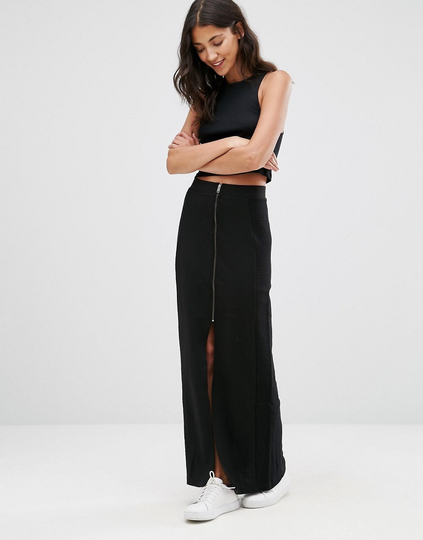 Zip Front Maxi Skirt With Slit Black Iris - pattern: plain; length: ankle length; fit: body skimming; hip detail: draws attention to hips; waist: mid/regular rise; predominant colour: black; occasions: casual; style: maxi skirt; fibres: cotton - 100%; pattern type: fabric; texture group: jersey - stretchy/drapey; wardrobe: basic; season: a/w 2016