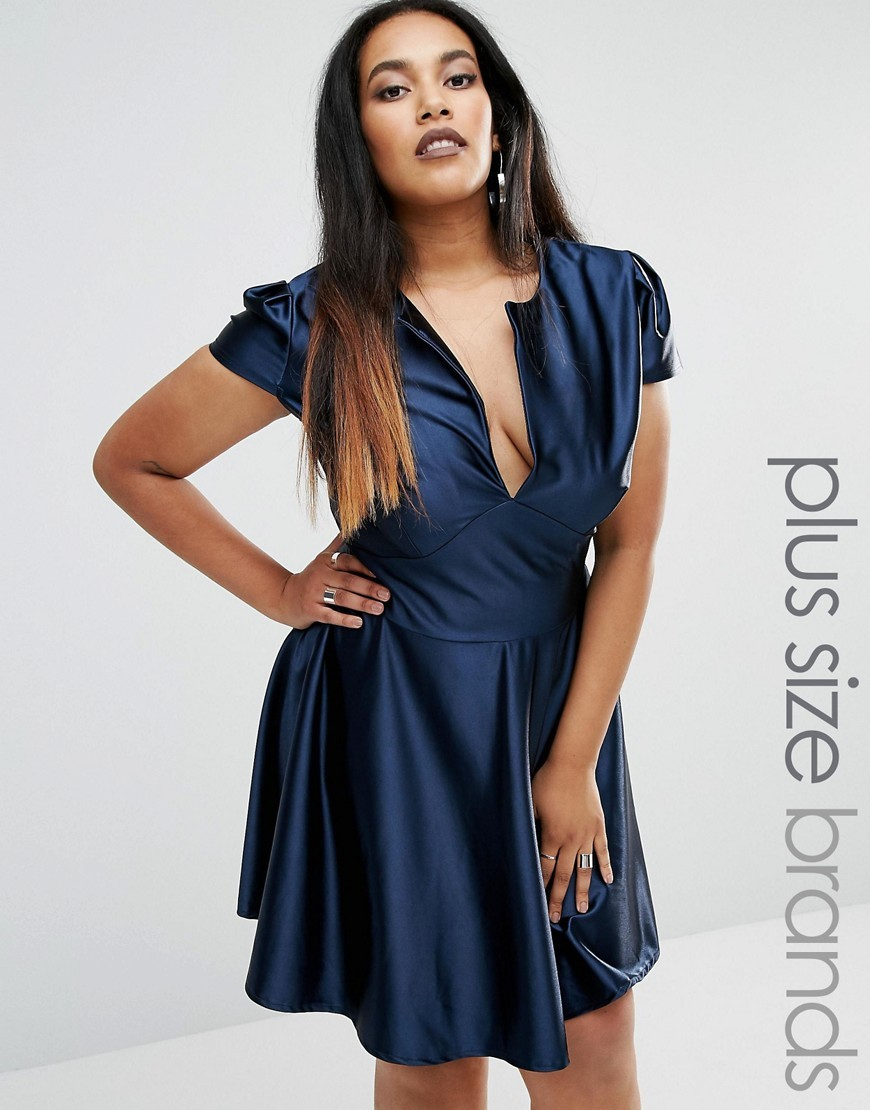 Plus Pam Skater Dress In Satin Navy - neckline: low v-neck; pattern: plain; predominant colour: navy; occasions: evening; length: just above the knee; fit: fitted at waist & bust; style: fit & flare; fibres: polyester/polyamide - stretch; sleeve length: short sleeve; sleeve style: standard; pattern type: fabric; texture group: jersey - stretchy/drapey; season: a/w 2016
