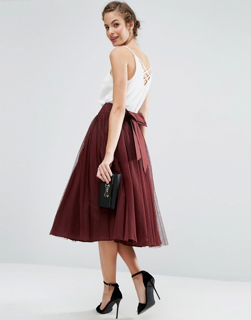 Bow Back Tulle Prom Skirt Oxblood - length: calf length; pattern: plain; style: full/prom skirt; fit: loose/voluminous; waist: mid/regular rise; predominant colour: burgundy; occasions: evening; fibres: polyester/polyamide - 100%; pattern type: fabric; texture group: net/tulle; season: a/w 2016; wardrobe: event