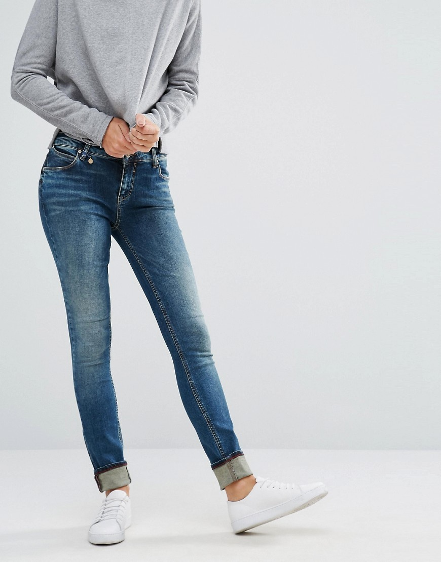 Coral Jeans 32'' Dark Blue Denim - style: skinny leg; length: standard; pattern: plain; pocket detail: traditional 5 pocket; waist: mid/regular rise; predominant colour: navy; occasions: casual; fibres: cotton - stretch; jeans detail: whiskering; texture group: denim; pattern type: fabric; wardrobe: basic; season: a/w 2016