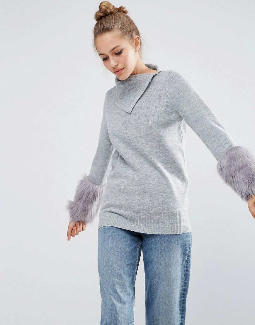 Jumper With Fur Sleeve Grey - pattern: plain; neckline: high neck; style: standard; predominant colour: light grey; occasions: casual; length: standard; fibres: acrylic - mix; fit: standard fit; sleeve length: long sleeve; sleeve style: standard; texture group: knits/crochet; pattern type: knitted - fine stitch; wardrobe: basic; season: a/w 2016