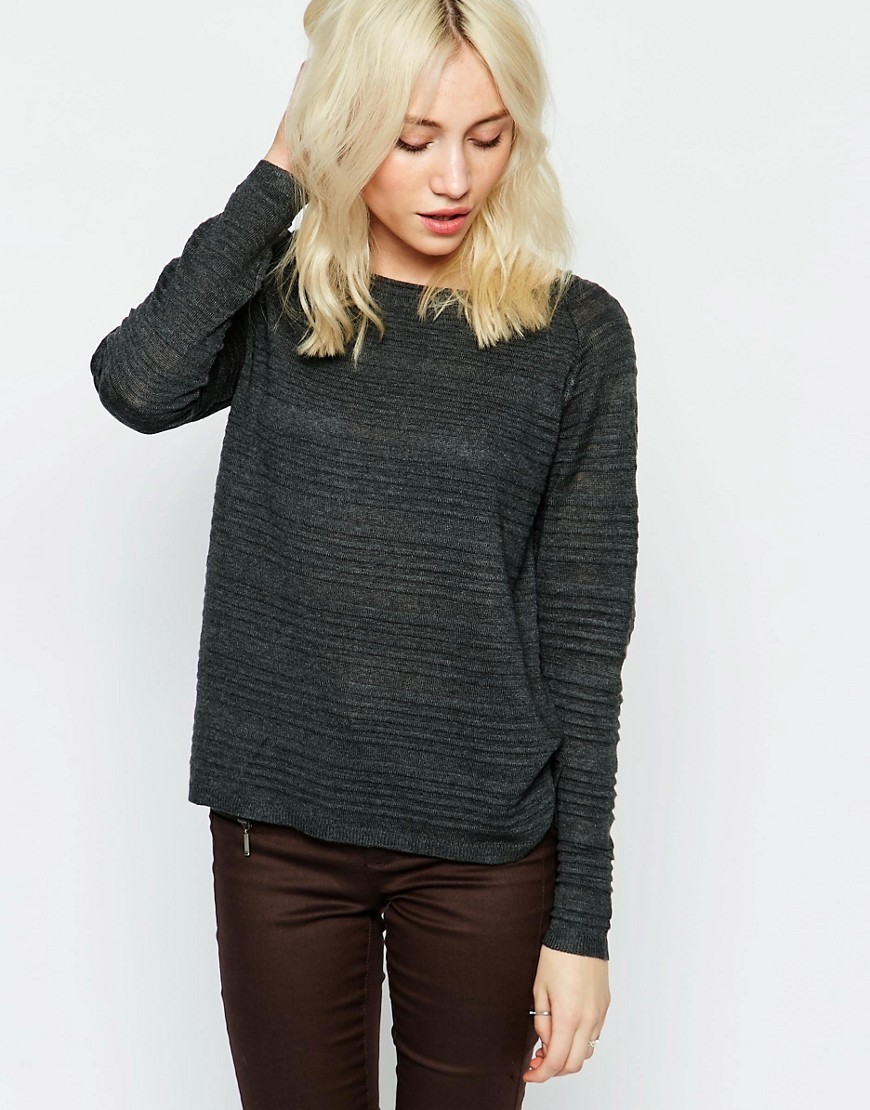 Textured Ribbed Jumper Dark Grey Melange - pattern: plain; style: standard; predominant colour: charcoal; occasions: casual; length: standard; fibres: polyester/polyamide - mix; fit: standard fit; neckline: crew; sleeve length: long sleeve; sleeve style: standard; texture group: knits/crochet; pattern type: knitted - other; wardrobe: basic; season: a/w 2016