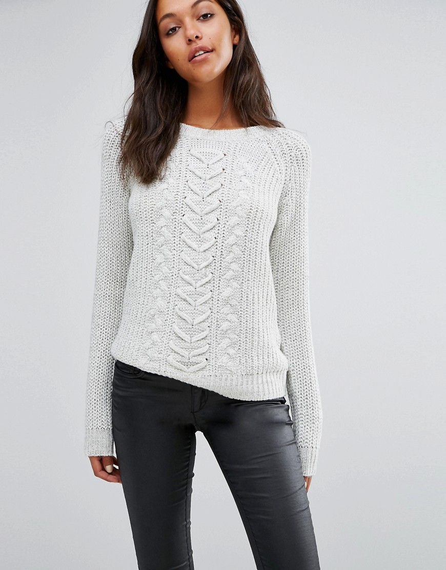Cable Knit Jumper Snow White - pattern: plain; style: standard; predominant colour: white; occasions: casual; length: standard; fibres: acrylic - 100%; fit: standard fit; neckline: crew; sleeve length: long sleeve; sleeve style: standard; texture group: knits/crochet; pattern type: knitted - fine stitch; season: a/w 2016