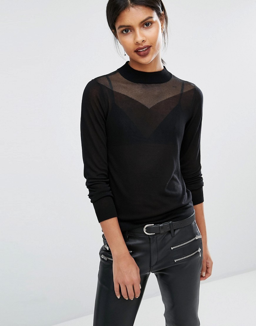 Veva Fine Gauge Knit With Sheer Yoke Black - pattern: plain; neckline: high neck; bust detail: sheer at bust; style: standard; predominant colour: black; occasions: evening; length: standard; fit: slim fit; sleeve length: long sleeve; sleeve style: standard; pattern type: fabric; texture group: other - light to midweight; fibres: viscose/rayon - mix; season: a/w 2016; wardrobe: event