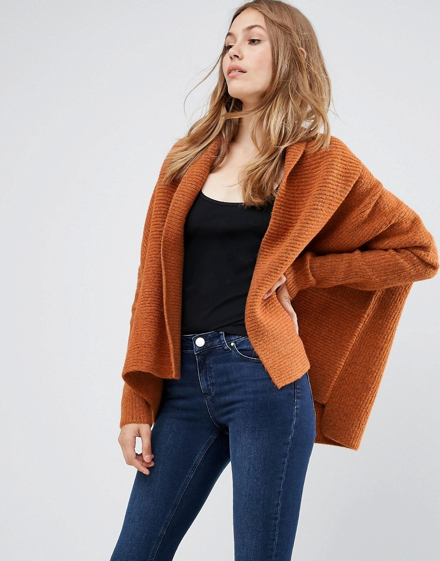 Boxy Cardigan In Chunky Rib Tobacco - sleeve style: dolman/batwing; pattern: plain; neckline: shawl; style: open front; predominant colour: tan; occasions: casual, creative work; length: standard; fibres: acrylic - mix; fit: loose; sleeve length: long sleeve; texture group: knits/crochet; pattern type: knitted - other; season: a/w 2016; wardrobe: highlight