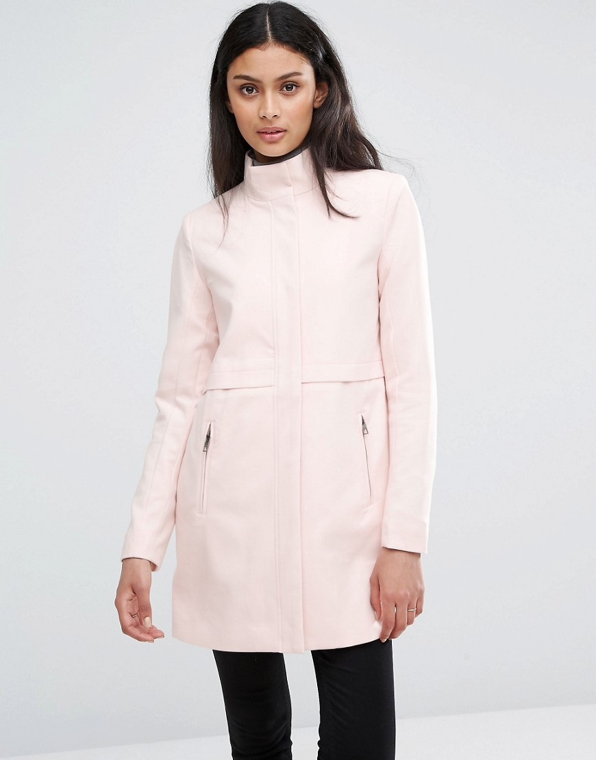 Lightweight Jacket With High Neck Peach Whip - pattern: plain; length: below the bottom; collar: funnel; style: single breasted; predominant colour: blush; occasions: casual; fit: tailored/fitted; fibres: viscose/rayon - stretch; sleeve length: long sleeve; sleeve style: standard; collar break: high; pattern type: fabric; texture group: woven bulky/heavy; wardrobe: basic; season: a/w 2016; embellishment: contrast fabric; embellishment location: back