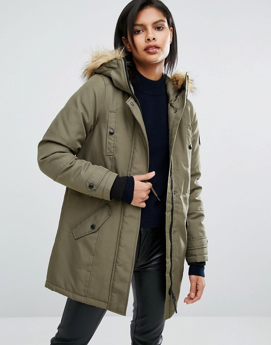 Parka With Faux Fur Collar Ivy Green - pattern: plain; length: below the bottom; collar: funnel; fit: loose; style: parka; back detail: hood; predominant colour: khaki; occasions: casual; fibres: polyester/polyamide - 100%; sleeve length: long sleeve; sleeve style: standard; collar break: high; pattern type: fabric; texture group: woven bulky/heavy; embellishment: fur; season: a/w 2016; wardrobe: highlight