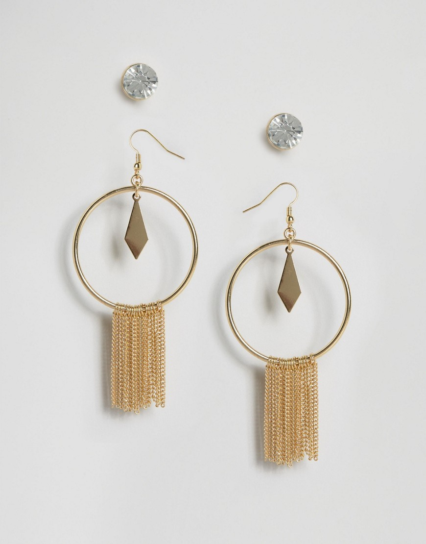 Statement Tassel & Stud Earrings Gold - predominant colour: gold; occasions: evening; style: hoop; length: long; size: large/oversized; material: chain/metal; fastening: pierced; finish: metallic; embellishment: tassels; season: a/w 2016; wardrobe: event