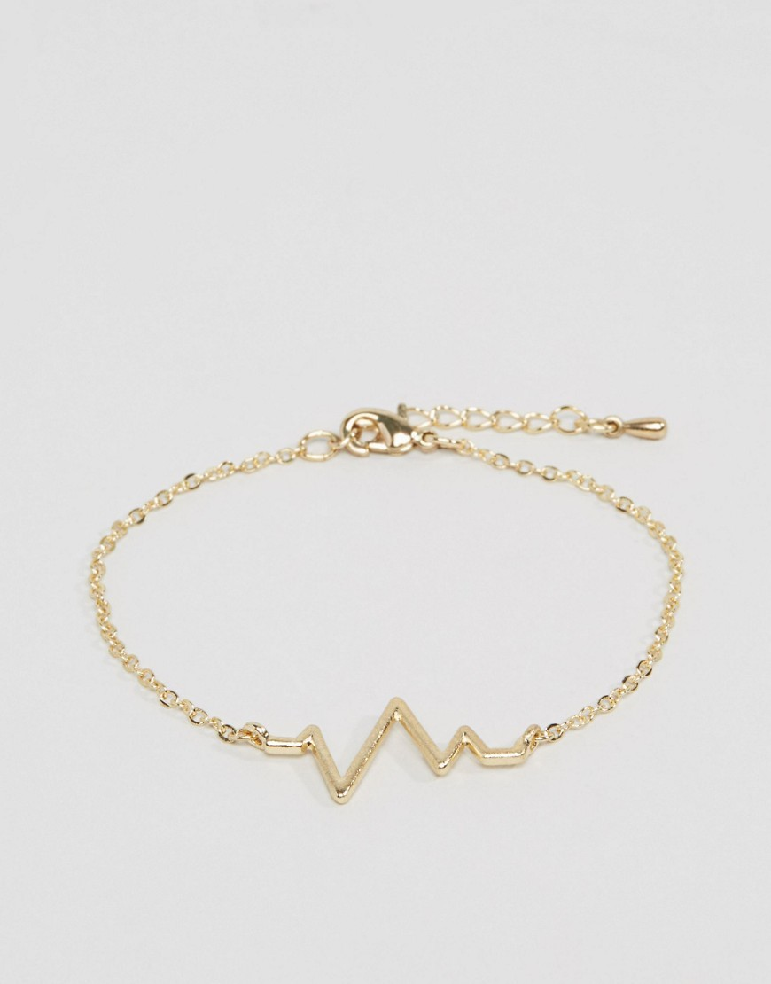 Heart Beat Bracelet Gold - predominant colour: gold; occasions: casual; style: chain; size: small/fine; material: chain/metal; finish: metallic; embellishment: chain/metal; wardrobe: basic; season: a/w 2016