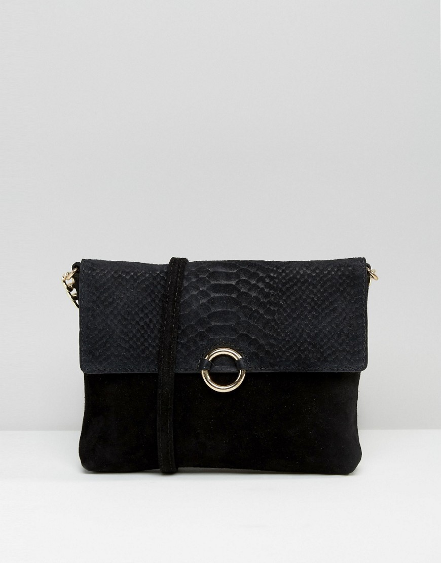 Suede Snake Embossed Ring Detail Cross Body Bag Black - predominant colour: black; occasions: casual; type of pattern: standard; style: messenger; length: across body/long; size: small; material: faux leather; pattern: plain; finish: plain; wardrobe: basic; season: a/w 2016