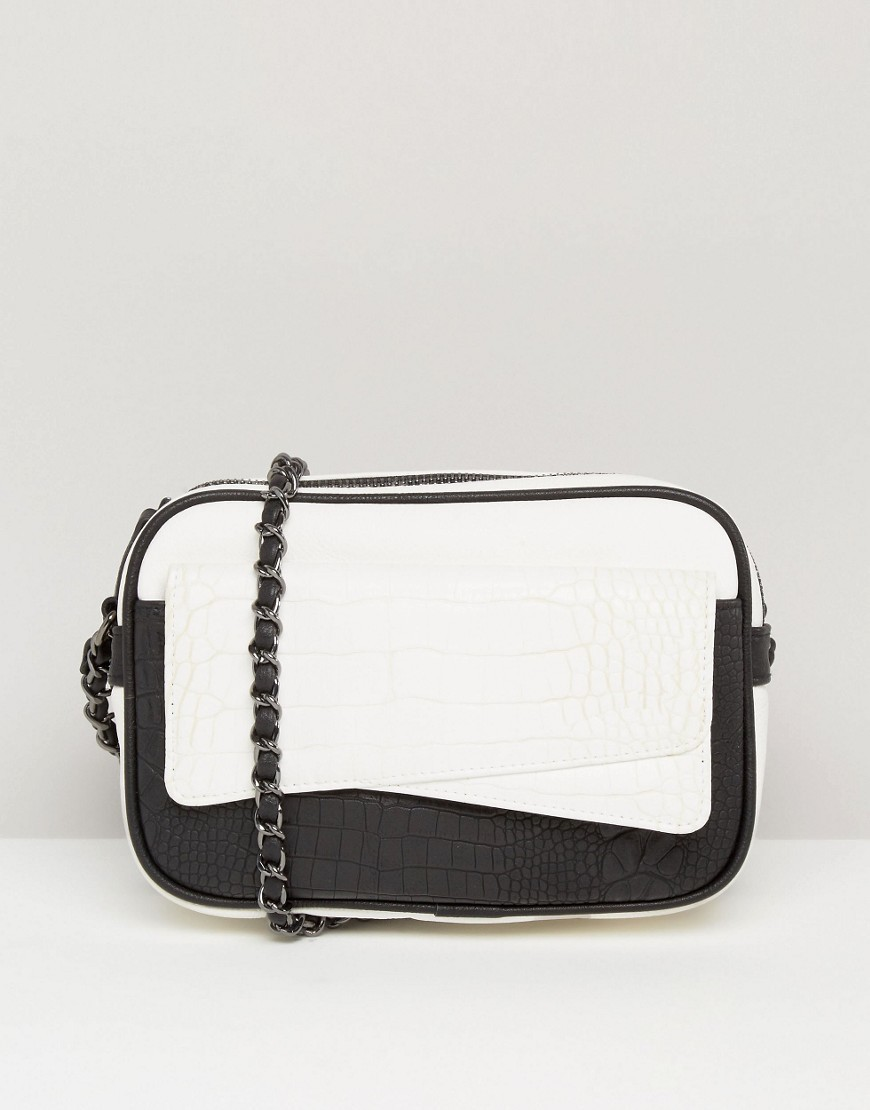 Mono Croc And Snake Camera Cross Body Bag Multi - predominant colour: white; secondary colour: black; occasions: casual; type of pattern: standard; style: messenger; length: across body/long; size: small; material: faux leather; finish: plain; pattern: colourblock; multicoloured: multicoloured; season: a/w 2016; wardrobe: highlight