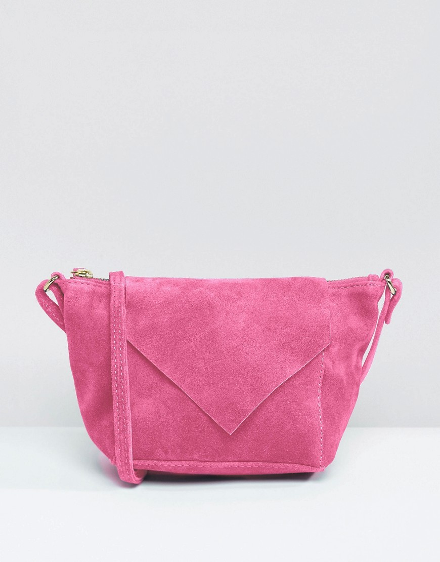 Suede Cross Body Bag With V Flap Pink - predominant colour: pink; occasions: casual; type of pattern: standard; style: messenger; length: across body/long; size: standard; material: suede; pattern: plain; finish: plain; season: a/w 2016; wardrobe: highlight