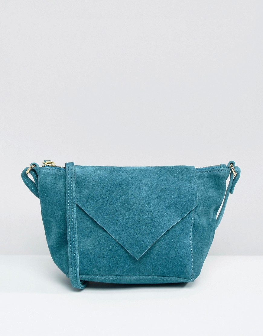Suede Cross Body Bag With V Flap Green - predominant colour: turquoise; occasions: casual; type of pattern: standard; style: messenger; length: across body/long; size: standard; material: suede; pattern: plain; finish: plain; season: a/w 2016; wardrobe: highlight