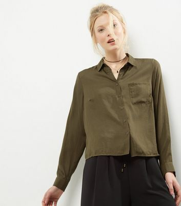 Khaki Long Sleeve Sateen Shirt - neckline: shirt collar/peter pan/zip with opening; pattern: plain; style: shirt; predominant colour: khaki; occasions: casual; length: standard; fibres: polyester/polyamide - 100%; fit: body skimming; sleeve length: long sleeve; sleeve style: standard; texture group: structured shiny - satin/tafetta/silk etc.; pattern type: fabric; wardrobe: basic; season: a/w 2016