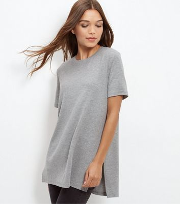 Grey Longline Split Side T Shirt - pattern: plain; length: below the bottom; style: t-shirt; predominant colour: light grey; occasions: casual; fibres: polyester/polyamide - stretch; fit: loose; neckline: crew; sleeve length: short sleeve; sleeve style: standard; pattern type: fabric; texture group: jersey - stretchy/drapey; wardrobe: basic; season: a/w 2016