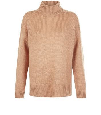 Tall Camel Ribbed Turtle Neck Jumper - pattern: plain; neckline: roll neck; style: standard; predominant colour: camel; occasions: casual; length: standard; fibres: acrylic - 100%; fit: standard fit; sleeve length: long sleeve; sleeve style: standard; texture group: knits/crochet; pattern type: knitted - fine stitch; season: a/w 2016