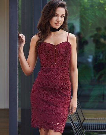 Love Michelle Keegan All Over Lace Corset Dress - sleeve style: spaghetti straps; fit: tight; style: bodycon; neckline: sweetheart; predominant colour: burgundy; occasions: evening; length: just above the knee; fibres: polyester/polyamide - 100%; sleeve length: sleeveless; texture group: lace; pattern type: fabric; pattern: patterned/print; season: a/w 2016; wardrobe: event