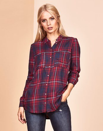 Woven Check Shirt - neckline: shirt collar/peter pan/zip with opening; pattern: checked/gingham; length: below the bottom; style: shirt; secondary colour: burgundy; predominant colour: black; occasions: casual; fibres: viscose/rayon - 100%; fit: body skimming; sleeve length: long sleeve; sleeve style: standard; pattern type: fabric; texture group: jersey - stretchy/drapey; multicoloured: multicoloured; season: a/w 2016