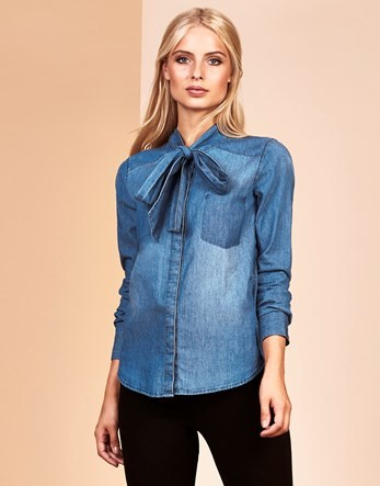 Denim Bow Neck Blouse - pattern: plain; neckline: pussy bow; style: blouse; predominant colour: denim; occasions: casual; length: standard; fibres: cotton - 100%; fit: body skimming; hip detail: sculpting darts/pleats/seams at hip; sleeve length: long sleeve; sleeve style: standard; texture group: denim; pattern type: fabric; season: a/w 2016; wardrobe: highlight