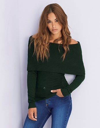 Deep Bardot Jumper - neckline: off the shoulder; pattern: plain; style: standard; predominant colour: dark green; occasions: casual, creative work; length: standard; fit: standard fit; sleeve length: long sleeve; sleeve style: standard; texture group: knits/crochet; pattern type: knitted - fine stitch; fibres: viscose/rayon - mix; season: a/w 2016; wardrobe: highlight