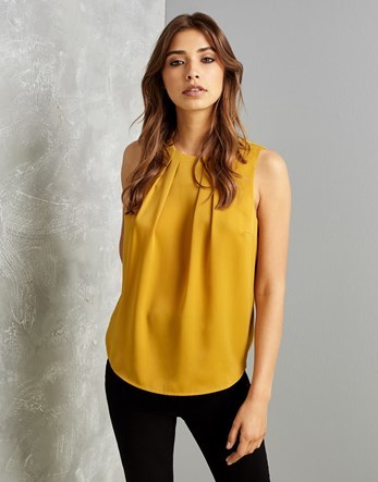 Sleeveless Blouse - pattern: plain; sleeve style: sleeveless; predominant colour: mustard; occasions: casual; length: standard; style: top; fibres: polyester/polyamide - 100%; fit: body skimming; neckline: crew; sleeve length: sleeveless; texture group: crepes; bust detail: tiers/frills/bulky drapes/pleats; pattern type: fabric; season: a/w 2016